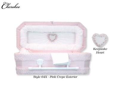 Cloth Covered Heart Keepsake Baby Casket (24 Inch Interior)     C-24-Cloth-K