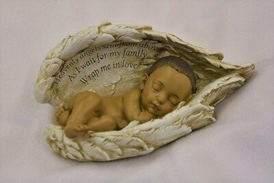 Baby in Wings Statue (medium skin tone)     M-BIW-Brn