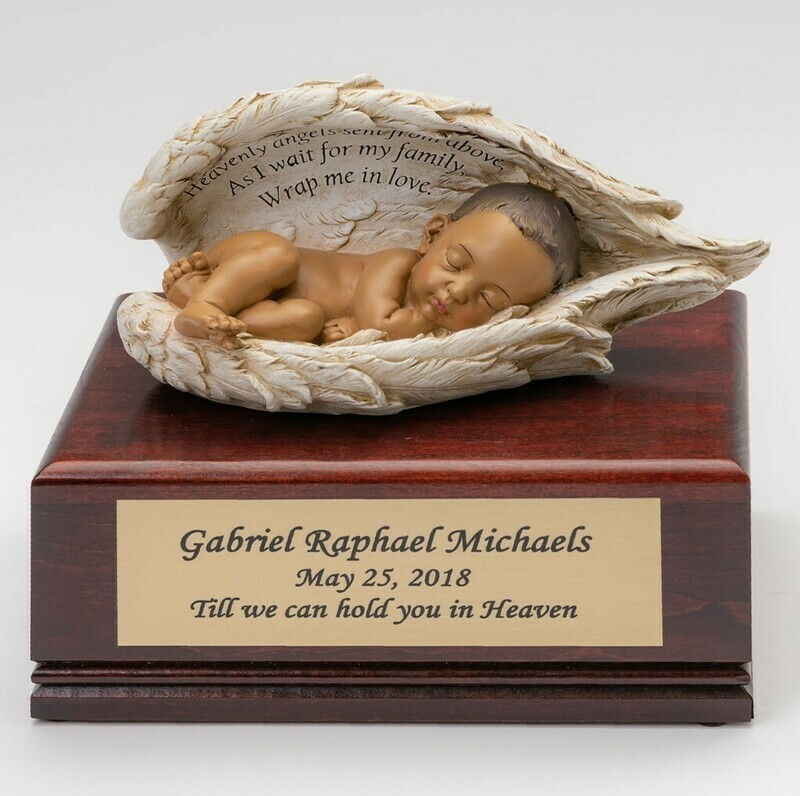 Baby in Angel Wings on Cherry Wood Urn  (Deep Medium skin tone)    U-BOB-HS