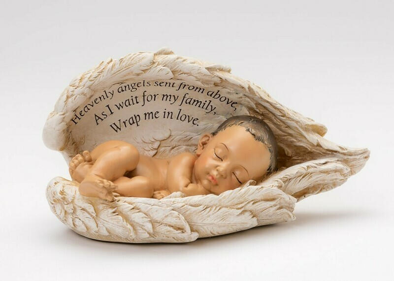 Baby In Angel Wings Urn (Light Medium Brown)     U-BIW-Brn