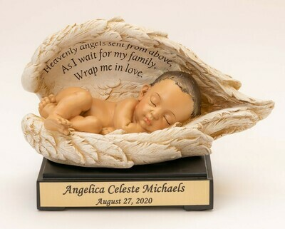 Baby in Wings Statue with Nameplate (light medium skin tone)   M-NP-Brn    (This is not an urn)