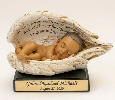 Baby in Wings Statue with Nameplate (deep medium skin tone)   M-NP-HS   (This is not an urn)