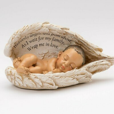 Baby in Wings Statue (light medium skin tone)     M-BIW-Brn