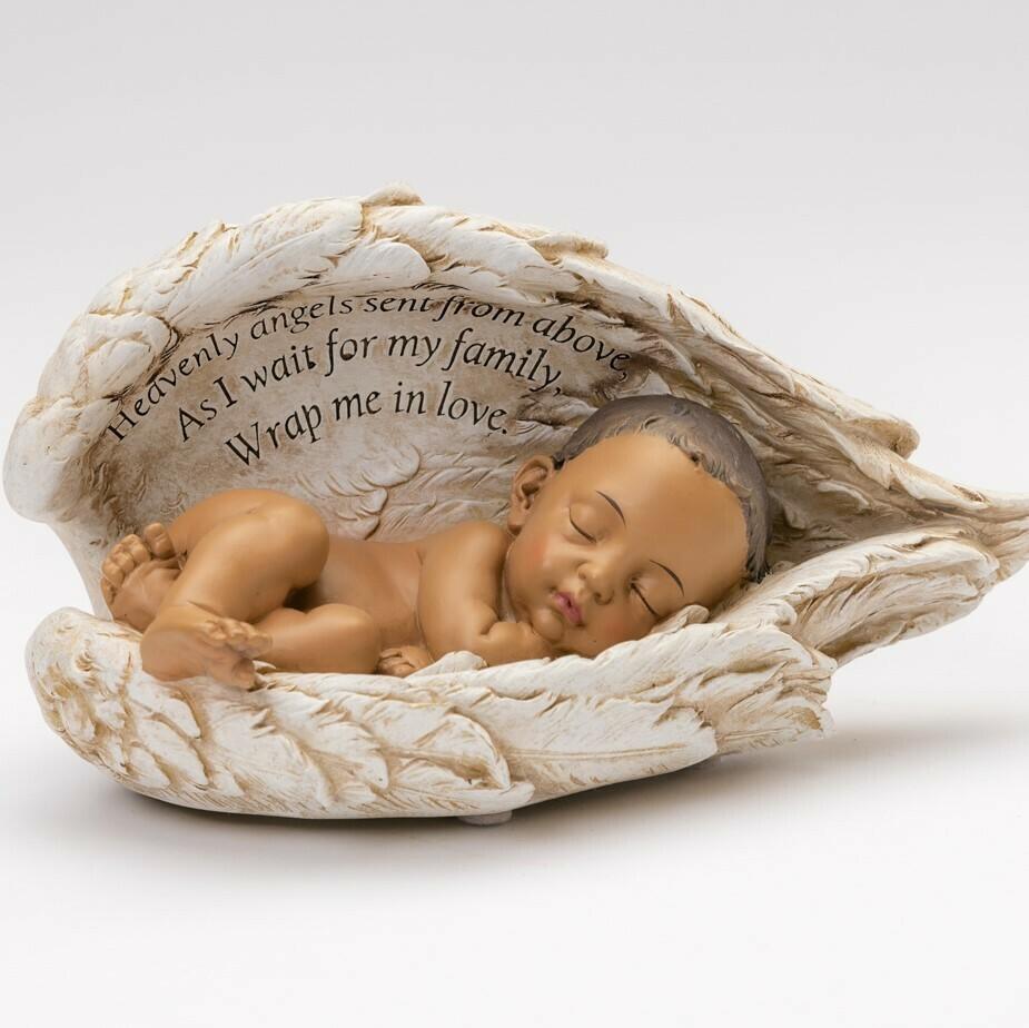 Baby in Wings Statue (deep medium skin tone)     M-BIW-HS