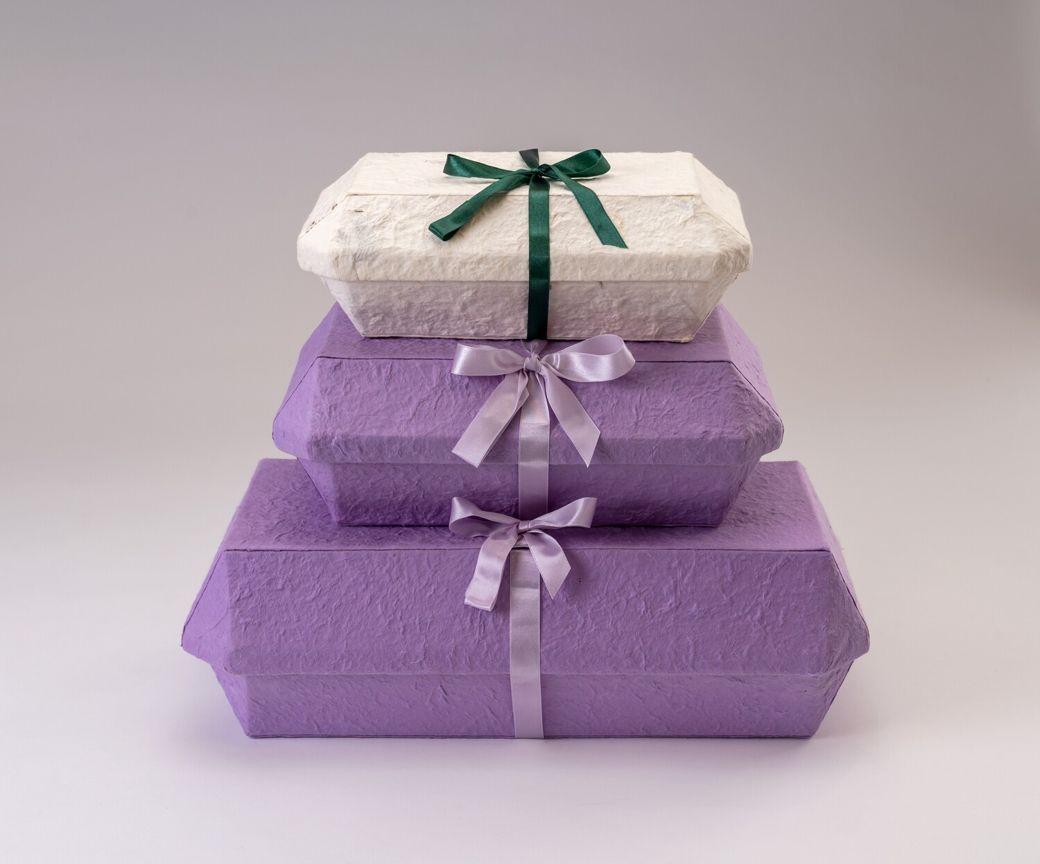 Cremation Caskets - 3 Pack White or Purple