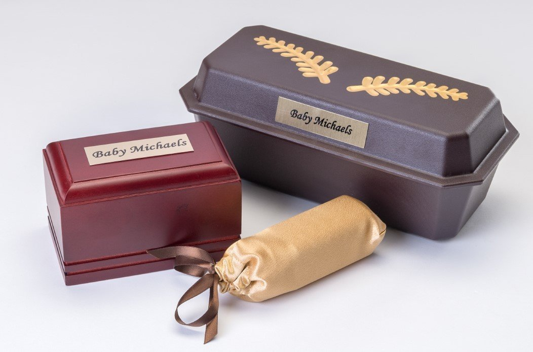 Wooden Baby Casket with Plastic Vault, Vessel and Gold Cover  (up to 13 weeks)   C-4-WG