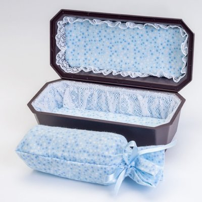 Baby Boy Cradle Casket with Blue Interior  (9 inch interior)   C-9-2BL