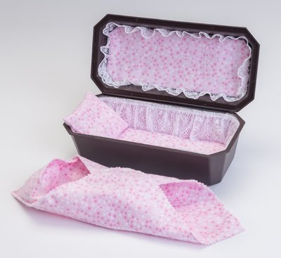 Baby Girl Cradle Casket with Pink Interior (9 inch interior)   C-9-2P