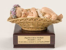Baby Girl in Basket  on Amish Wood Urn     U-Bask-BOB