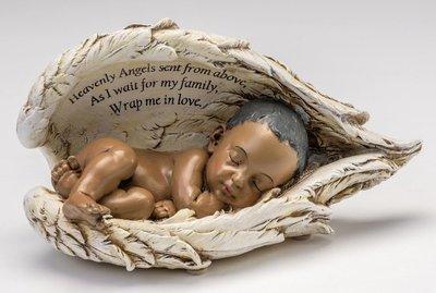 Baby in Wings Statue (dark skin tone)    M-BIW-BK