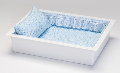 Twin or Single Baby Economy Casket Vault combo (in blue flannel, 14 inch)     C-14-Eco-BL