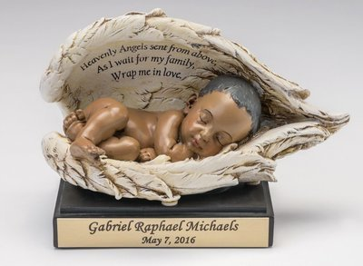 Baby in Wings Statue with Nameplate (dark skin tone)   M--NP-BK  (This is not an urn)
