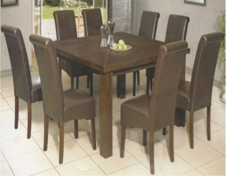 9 PIECE OSLO SQUARE DINING TABLE WITH COMBO CHAIRS