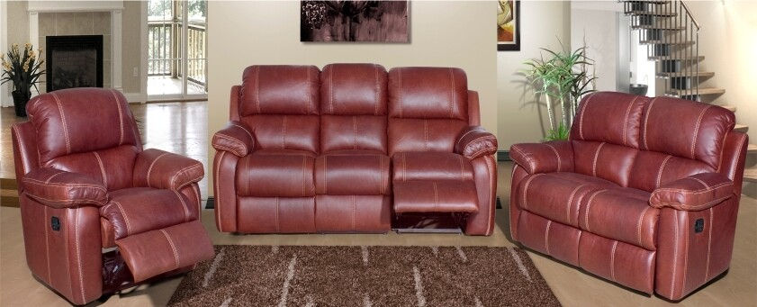 3 PIECE SOPHIA GENUINE LEATHER SUITE