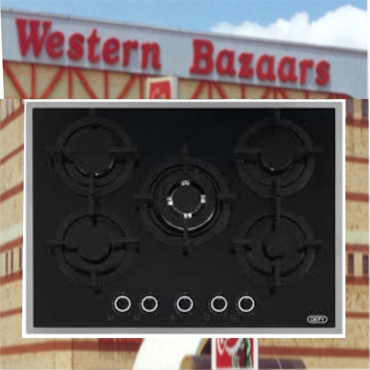 Defy gas 5 plate glass hob dhg 127