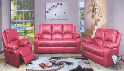 3 recliners red lounge suite
