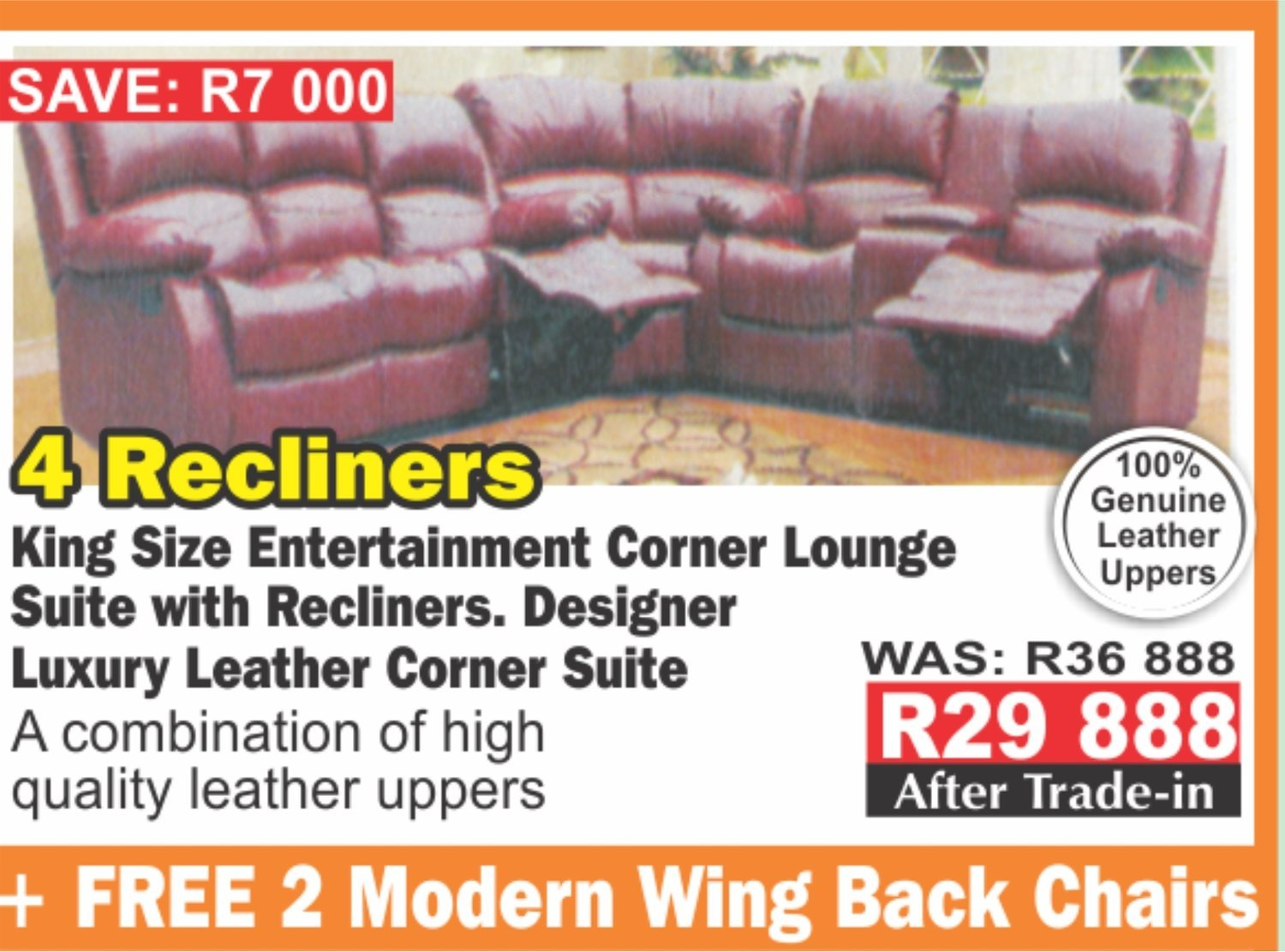 4 Recliners king size entertainment corner lounge suite with Trade-Inn