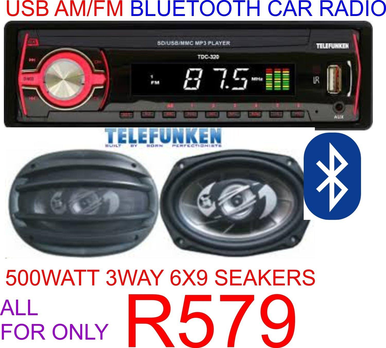 USB AM/FM BLUETOOTH CAR RADIO WITH 6X9 SPEAKERS