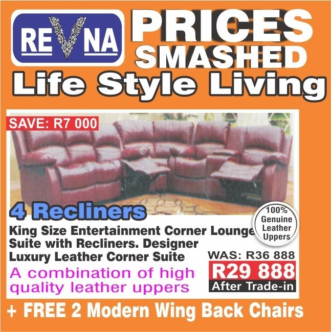 4 Recliners King Size Entertainment Corner Lounge Suite with Recliners.with Trade-Inn