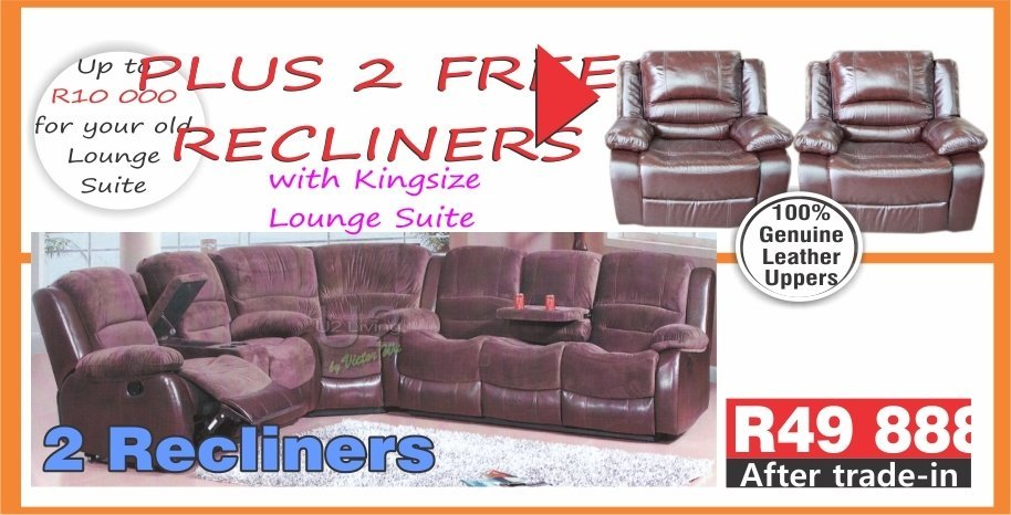 2 Recliners with Kingsize  Lounge Suite with Trade-Inn