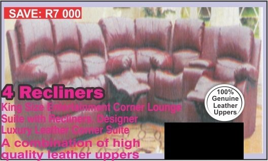 2 Recliners King Size Entertainment  Corner Lounge Suite. with Trade-Inn