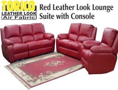 red leather look lounge suite with console with Trade-Inn