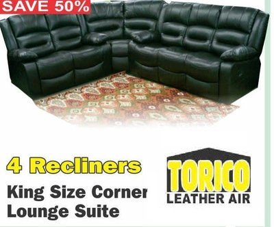 KING SIZE CORNER LOUNGE SUITE WITH 4 RECLINERS with Trade-Inn