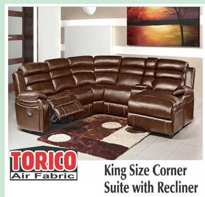 KING SIZE CORNER SUITE WITH RECLINER with Trade-Inn