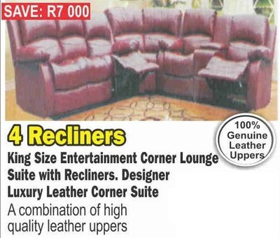 King Size Corner Lounge Suite With Recliners with Trade-Inn