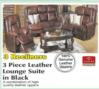3 Piece Leather lounge Suite In Black with Trade-Inn