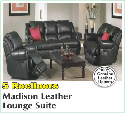 Madison Leather Lounge Suite with Trade-Inn