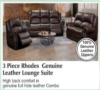 3 piece Rhodes Genuine Leather Lounge Suite with Trade-Inn