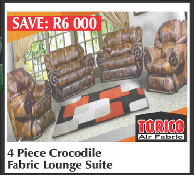 4 PIECE CROCODILE FABRIC LOUNGE SUITE with Trade-Inn