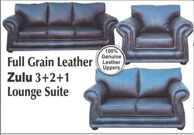 full grain leather zulu 3+2+1  lounge suite with Trade-Inn