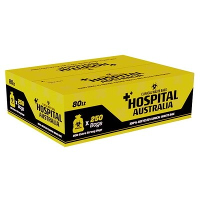 AUSTRALIAN MADE CLINICAL WASTE BAGS 80 LITRE YELLOW CTN 250