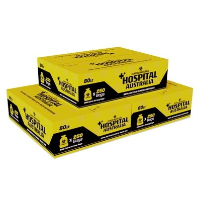 AUSTRALIAN MADE CLINICAL WASTE BAGS 54 LITRE YELLOW CTN 250