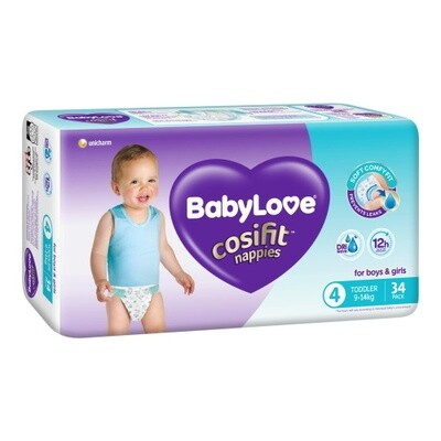 BABYLOVE COSIFIT TODDLER NAPPY 9-14 KG (SIZE 4) 102 NAPPIES