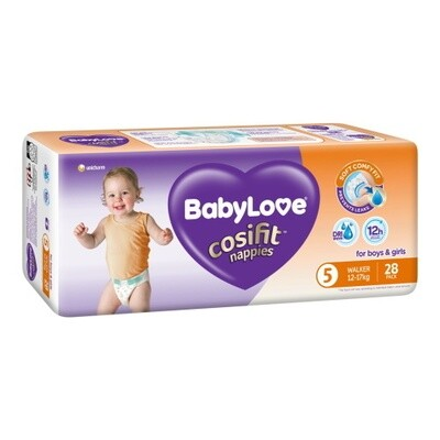 BABYLOVE COSIFIT WALKER NAPPY 12-17 KG (SIZE 5) 84 NAPPIES