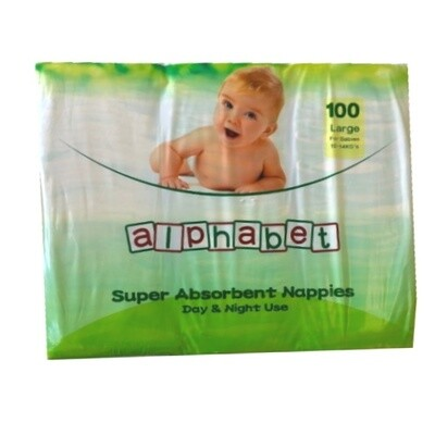 ALPHABET NAPPY LARGE 100 NAPPIES