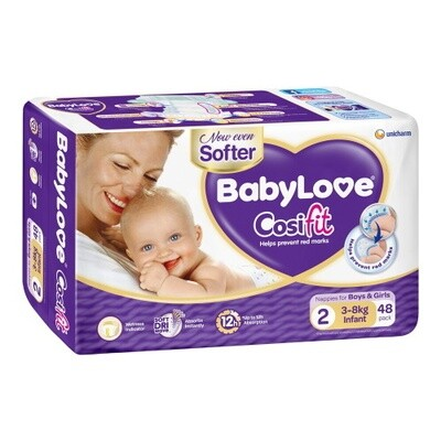 BABYLOVE COSIFIT INFANT NAPPY 3-8 KG (SIZE 2) 88 NAPPIES