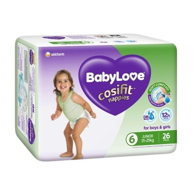 BABYLOVE COSIFIT JUNIOR NAPPY 15-25 KG (SIZE 6) 78 NAPPIES