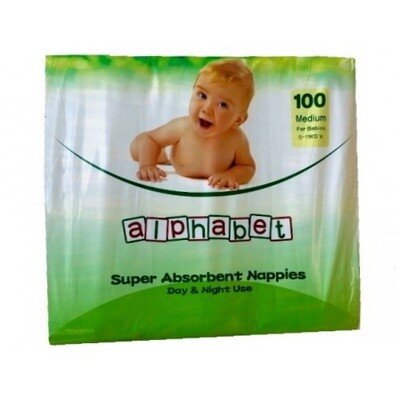 ALPHABET NAPPY MEDIUM 100 NAPPIES