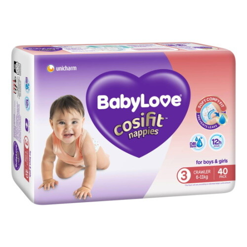 BABYLOVE COSIFIT CRAWLER NAPPY 6-11 KG (SIZE 3) 120 NAPPIES