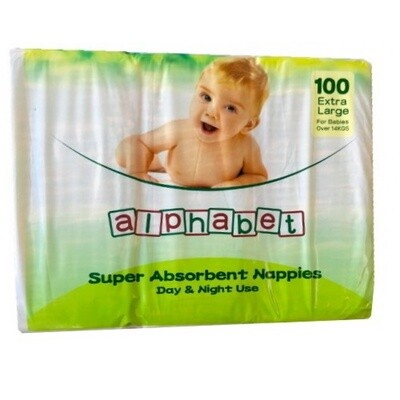 ALPHABET NAPPY EXTRA LARGE 100 NAPPIES