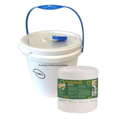 PREMIUM ANTIBACTERIAL WIPES STARTER PACK - 1 BUCKET + 1 ROLL OF WIPES