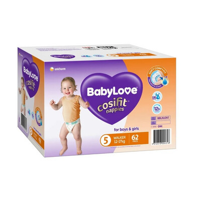 BABYLOVE COSIFIT WALKER NAPPY 12-17 KG (SIZE 5) 62 NAPPIES