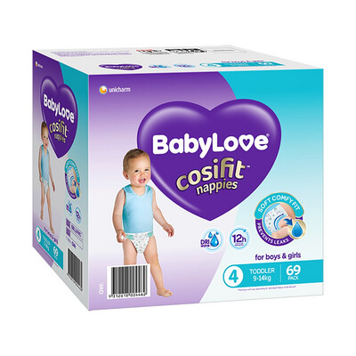 BABYLOVE COSIFIT TODDLER NAPPY 9-14 KG (SIZE 4) 69 NAPPIES