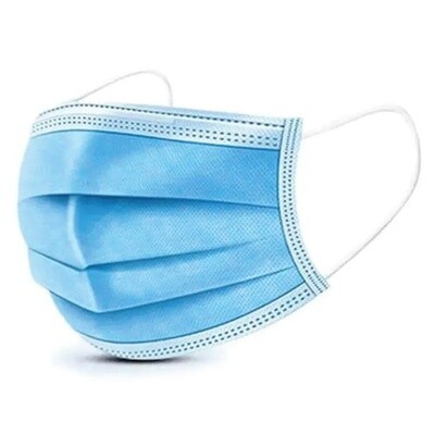 DISPOSABLE PROTECTIVE MASK 3 PLY BLUE 50/BOX