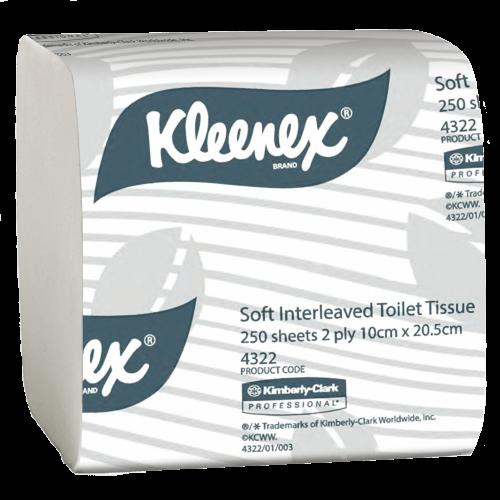 KLEENEX 4322 EXECUTIVE SOFT INTERLEAVED TOILET TISSUE 250 SHEETS CTN 36