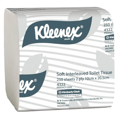 KLEENEX 4322 EXECUTIVE SOFT INTERLEAVED TOILET TISSUE 250 SHEETS CTN 36